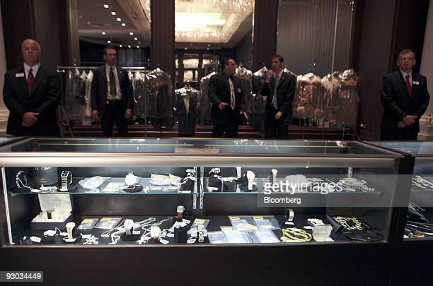 Watches are displayed during a media preview for an auction which includes jewelry and other personal items belonging to Bernard Madoff in New York...