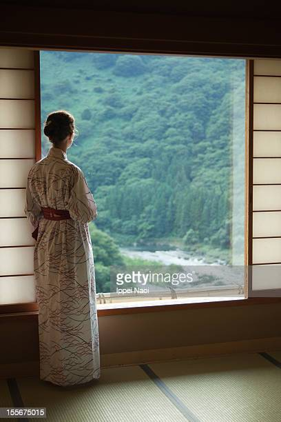 Watching forest river from Japanese room