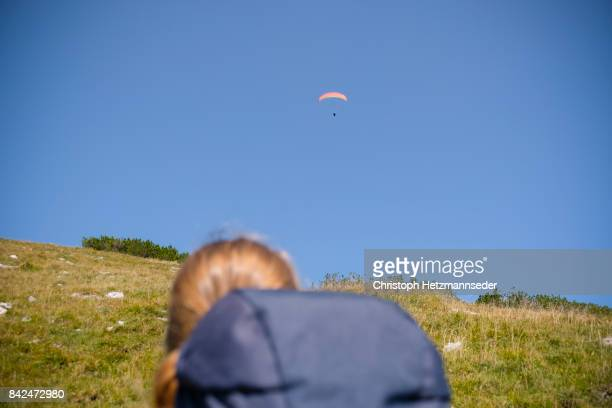 Watching paraglider