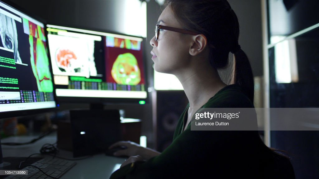 Watching physiology screens : Stock Photo