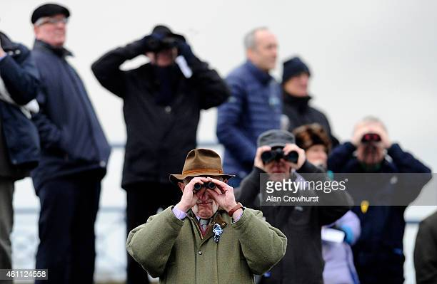 Watching the action at Ludlow racecourse on January 07 2015 in Ludlow England