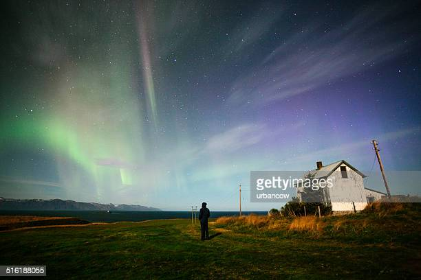 watching the aurora borealis - husavik stock photos and pictures