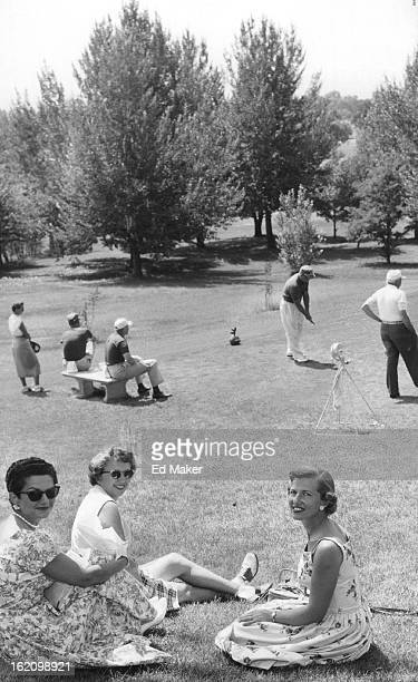 AUG 16 1956 AUG 19 1956 Watching the golfers tee off during Cherry Hills County club's Hillsdilly tournament this past week were Mrs FM Ricks of...