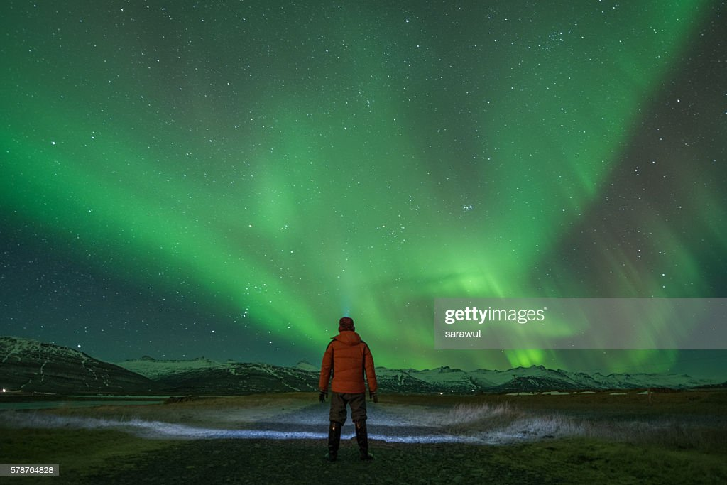 Watching the Northern Lights : Stock-Foto