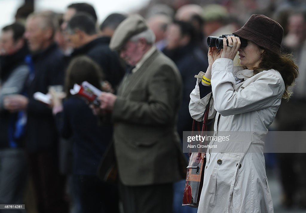 Watching the racing at Punchestown racecourse on May 01, 2014 in Naas, Ireland.