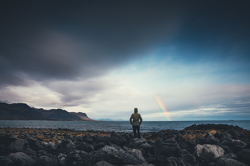 Watching The Rainbow In Iceland 861671654