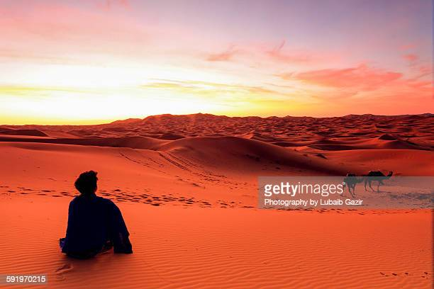 Watching the sunrise in Sahara