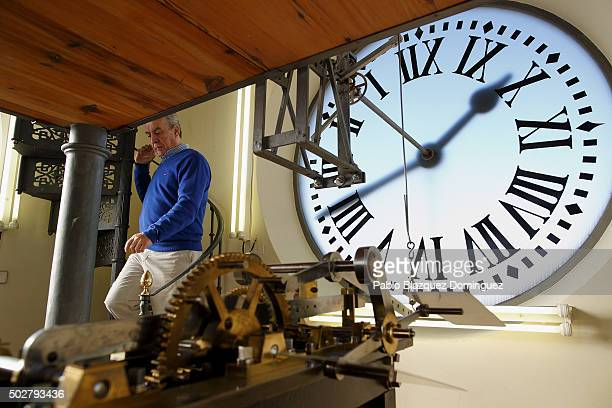 Watchmaker Jesus Lopez Terrados walks downstairs as he checks Puerta del Sol's clock on December 5 2015 in Madrid Spain Spain's most famous clock...