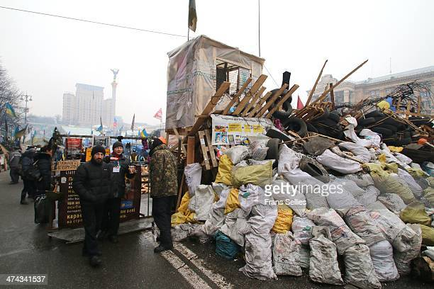 Watchtower and barricades at one of the entrances to Independence square during Euromaidan in Kiev.
