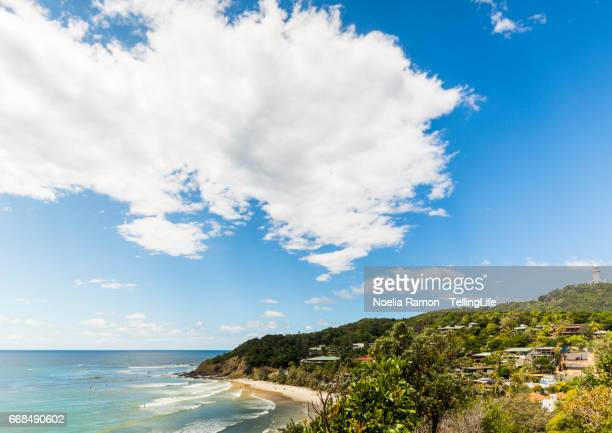 Wategos beach and Byron Bay lighthouse and landscape