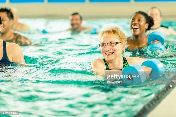 Water aerobics exercise group