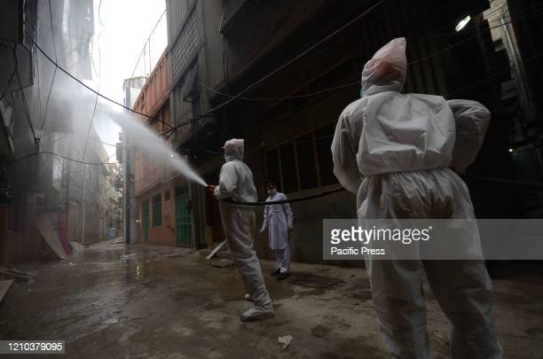 Water and Sanitation Services Peshawar staff carrying out disinfectant spray in Ghanta Ghar area after second corona positive case reported in...