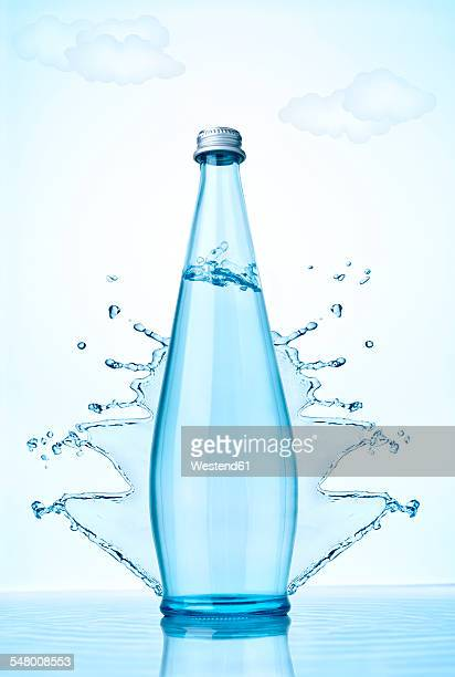Water bottle and splashing water