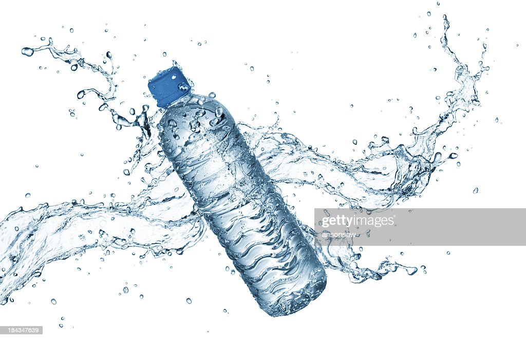 water bottle with splash : Stock Photo