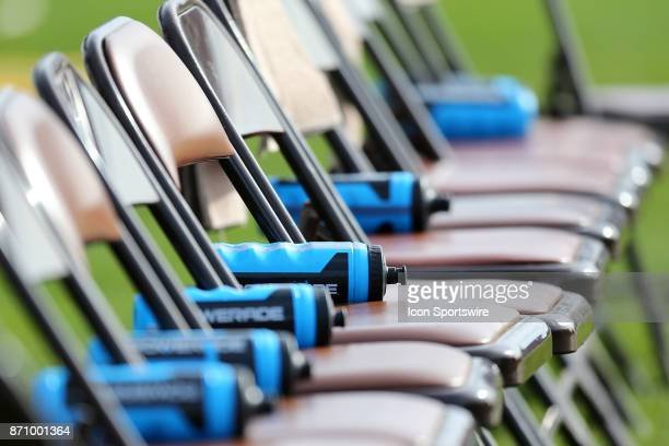Water bottles lay on the chairs of the Rhode Island Rams bench during a college football game between James Madison Dukes and Rhode Island Rams on...