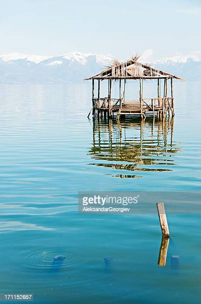 water cabin on a lake in spring - macedonia country stock pictures, royalty-free photos & images