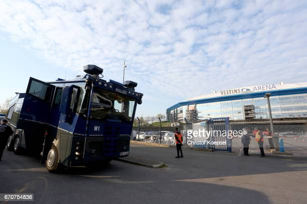 A water cannon car stand in front of the stadium prior to the UEFA Europa League quarter final second leg match between FC Schalke 04 and Ajax...