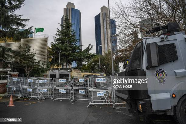 A water cannon is parked in front of Saudi Arabian consulate on January 10 2019 during a demostration in Istanbul Amnesty International called on...