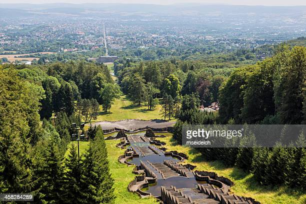 water cascades, bergpark, kassel, germany - hercules stock pictures, royalty-free photos & images