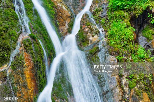 water cascades down the cliffs of the famous wimbachklamm. - berchtesgaden national park stock photos and pictures