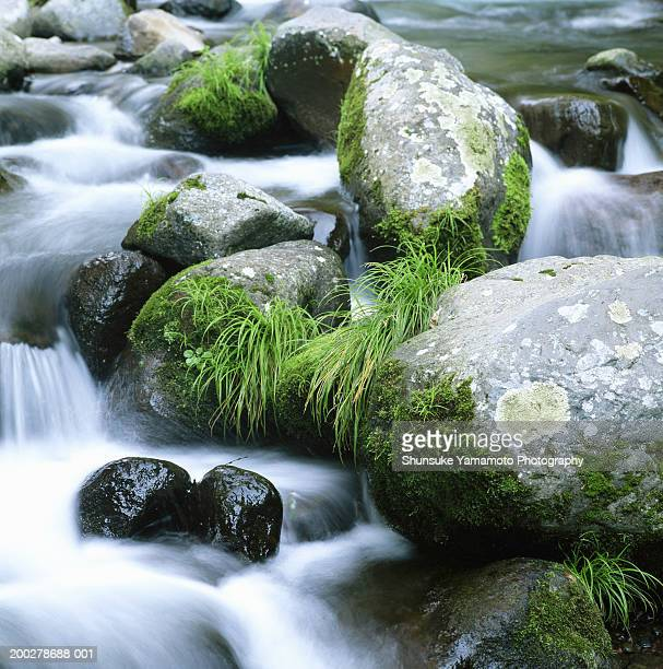 Water cascading over rocks (blurred motion)