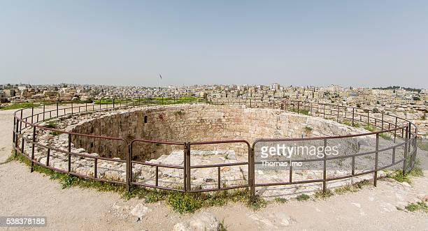 Water cistern at the citadel of Amman on April 08 2016 in Amman Jordan