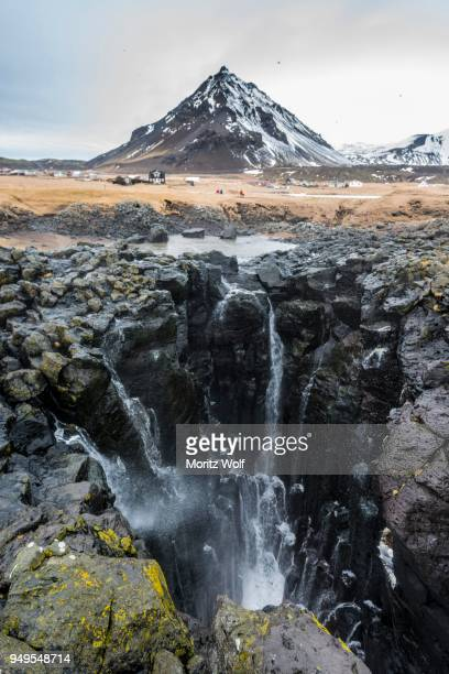 Water coming out of blowhole, Arnarstapi, Western Region, Iceland