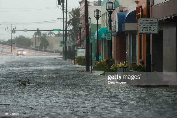 Water covers portions of International Speedway Boulevard in Daytona Beach after Hurricane Matthew passes through on October 7 2016 in Daytona Beach...