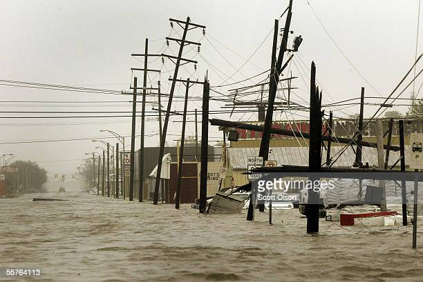 Water covers Route 87 through the east side of town following Hurricane Rita September 24 2005 in Port Arthur Texas Rita hit land as a category 3...