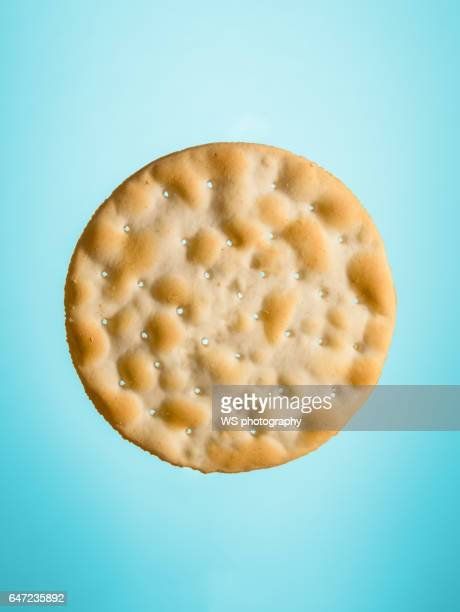 water cracker on blue background