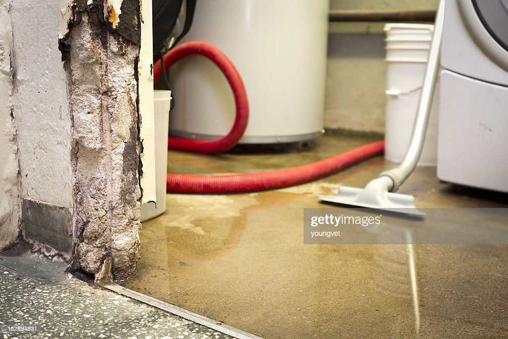 Water damaged basement : Stock Photo