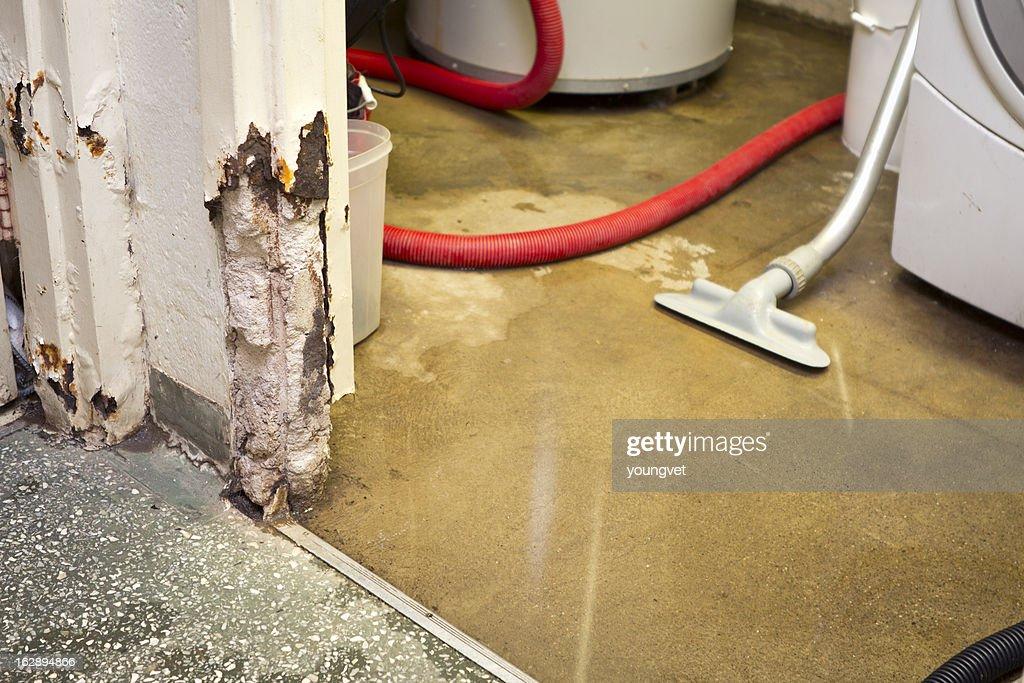 Water damaged basement : Stock Photo