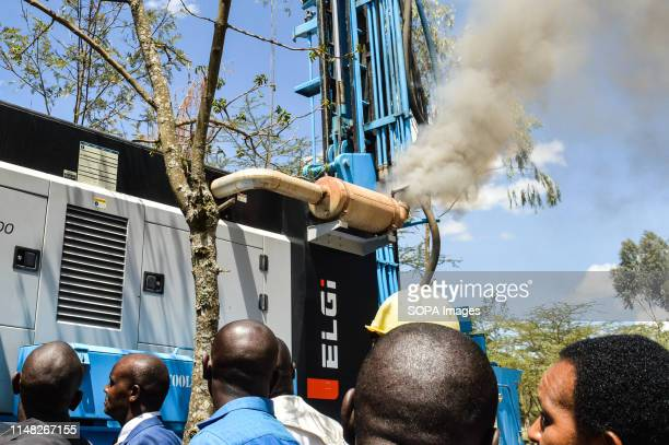 A water drilling rig emits plumes of smoke at an area with high water scarcity in Naivasha Nakuru Smoke from vehicles has been blamed for the...