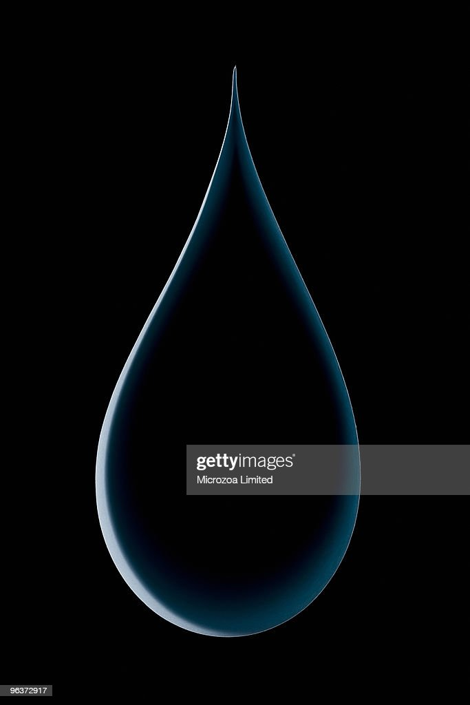 Water drop made from a single sheet of paper : Stock Photo