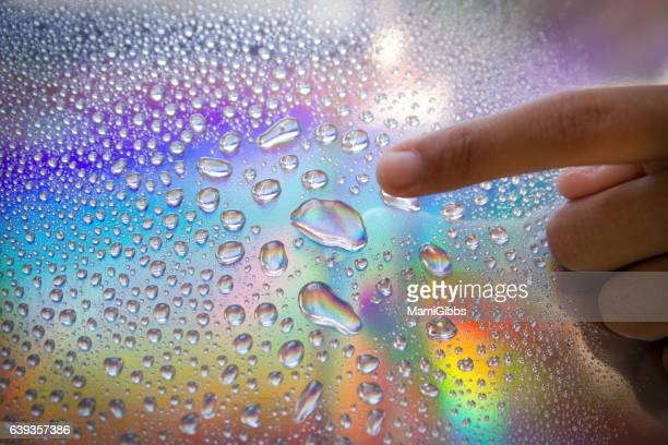 Water drop on the hologram paper