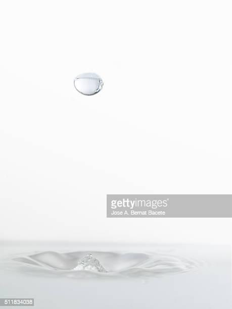 Water drop striking on stagnant water