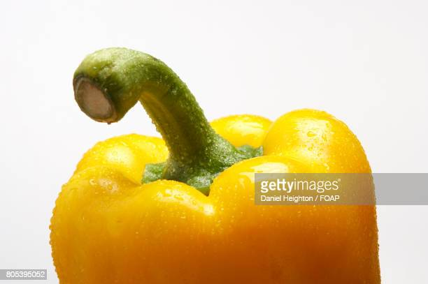 water droplets on fresh yellow pepper - yellow bell pepper stock pictures, royalty-free photos & images
