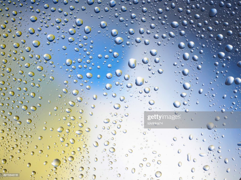 Water Drops Color Background Rain Glass Space Rainbow Stock Photo