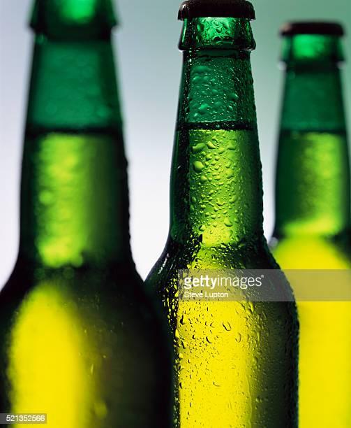 Water Drops on Green Beer Bottles
