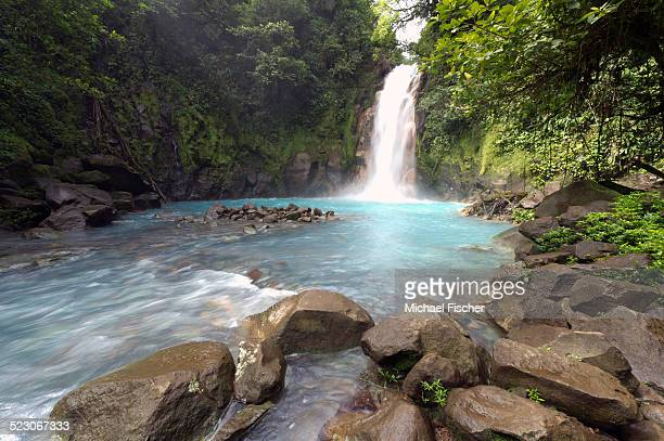Water fall at the Rio Celeste, Tenorio National Park, Guanacaste, Costa Rica, Central America