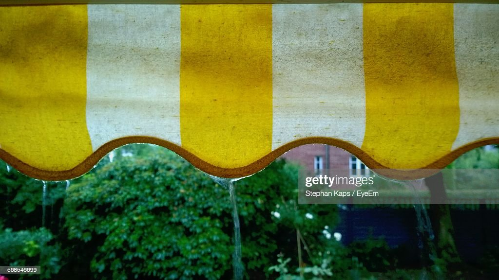 Water Falling Through Awning By Trees : Stock Photo