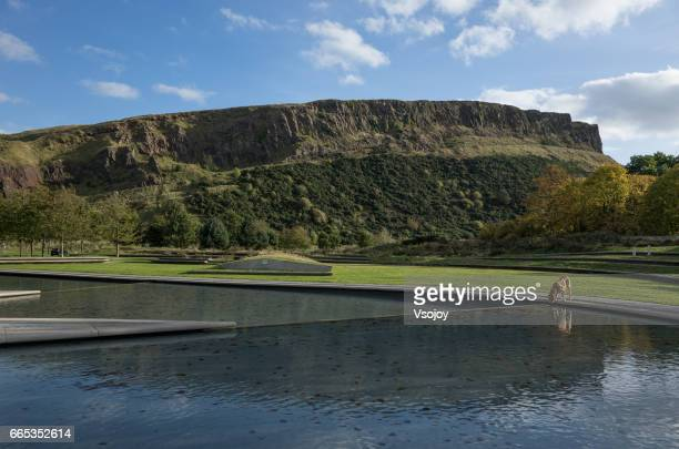 Water feature and the Salisbury Crags, Holyrood Park, Edinburgh
