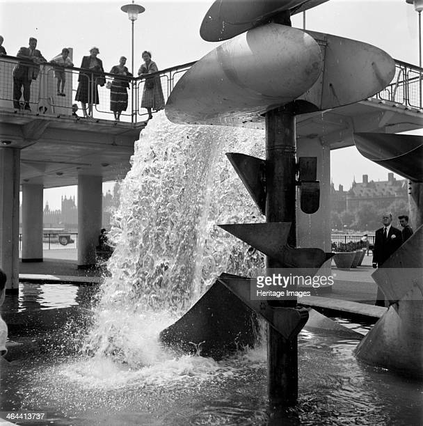 Water feature in Jubilee Gardens South Bank London c1951c1965 A water feature in Jubilee Gardens on London's South Bank attracts an audience It was...