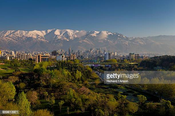 water & fire park, city & alborz mountain range - tehran stock pictures, royalty-free photos & images