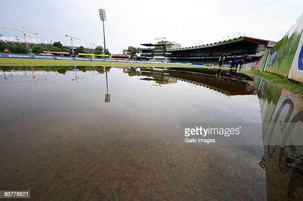 Water floods the pitch during day three of the first test match between South Africa and Bangladesh held at the Outsurance Oval on November 21 2008...