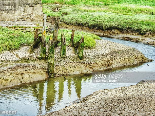 water flowing in ditch - llanelli stock pictures, royalty-free photos & images