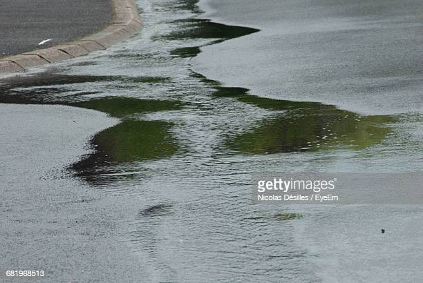 Water Flowing On Wet Street During Monsoon