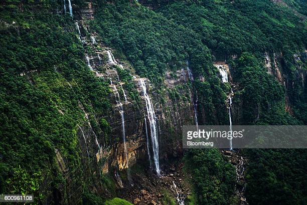 Water flows down the Nohsngithiang Falls segmented waterfall in Cherrapunji Meghalaya India on Tuesday Aug 16 2016 Two years of deficient rainfall...