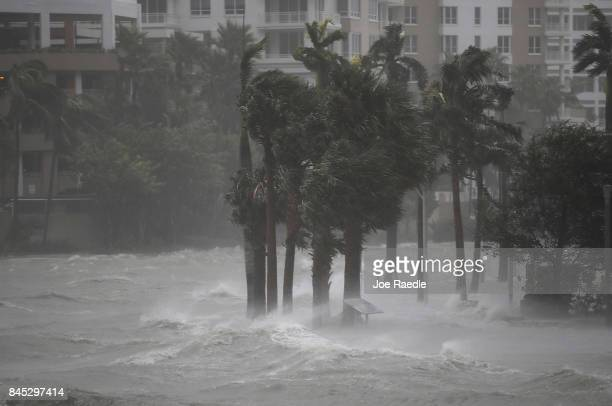 Water flows out of the Miami River to flood a walkway as Hurricane Irma passes through on September 10 2017 in Miami Florida Hurricane Irma made...