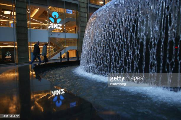 Water flows through a fountain outside an Australia New Zealand Banking Group Ltd branch in Sydney Australia on Friday June 1 2018 Australia's...